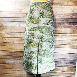 Topshop Jacquard Palm Print Split Front Midi Skirt